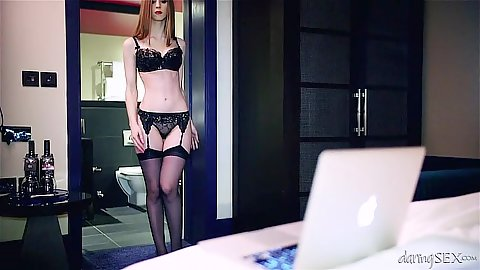 LIngerie Stella Cox gets naked and makes out with man
