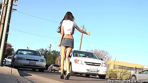Picked up teen hitch hiking outdoors by a police officer with Veronique Vega