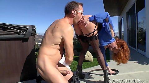 Great redhead slave gets ass licked and some rough fingering action wtih Veronica Avluv