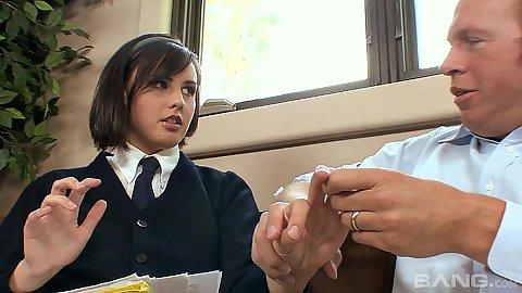 18 year old Brooke Adams wearing her prep school uniform