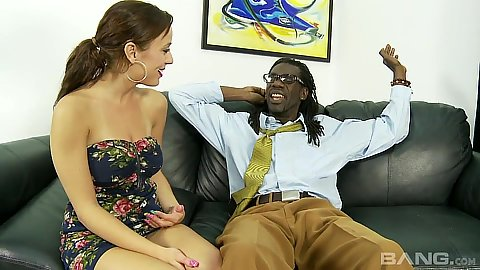 Slender 18 year old cutie Mae Meyers likes sucking large dicks in her clothes