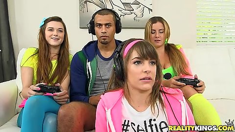 Playing some video games with college cfnm teen Payton Lee and Alex Mae and Kimmy Granger