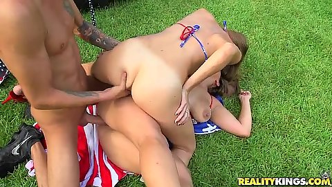 Outdoor bikini sluts nailed on grass Dillion Carter and Maria Jade