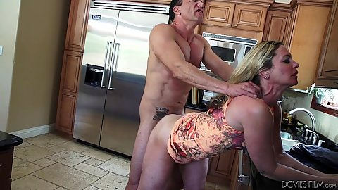 mature woman fucking sissy crossdresser with strapon pegging