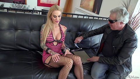 Fishnet no underwear Sarah Jessie shows off her goods