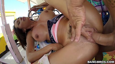 Corrupt public outdoor busty bang with anal on the summer fair Franceska Jaimes