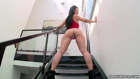 Sophisticated ass Katrina Jade sits on see thru chair