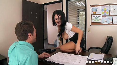Great hangout of shirt tits at the office with mini skirt Noelle Easton
