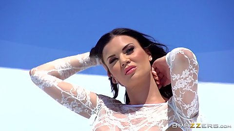Lovely lingerie babe Jasmine Jae posing outdoors looking awesome
