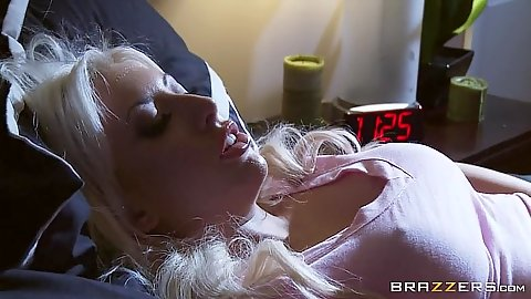 Blonde solo Valerie Fox ice cube on her nipple to make them hard