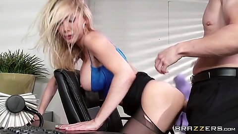 Doggy style stockings bang with blonde Devon in office