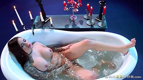 Self pleasure in a tub full of water with Karmen Karma