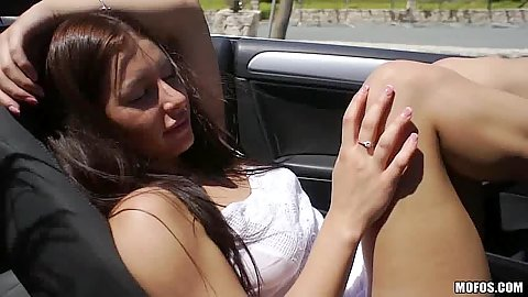 Driving around with finger squirter Angie and Ally