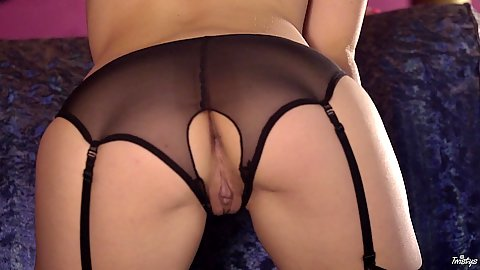 Open crotch lingerie with Goldie
