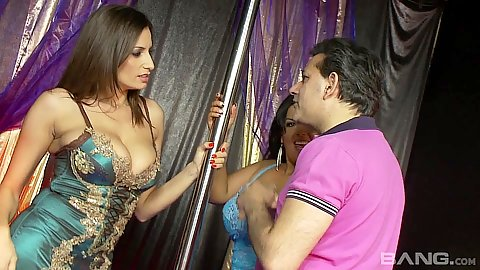 Dancing with a stripper pole Jasmine Black and Sensual Jane