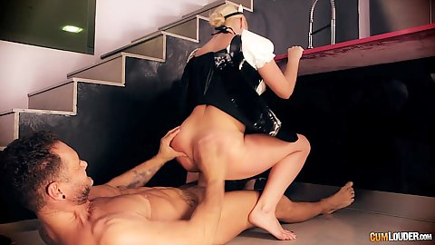 Dirty maid in costume riding some dick Victoria Summers