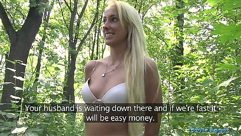 Skinny blonde girl is not camera shy at all while undressing  in public park for stranger