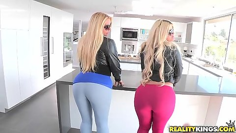 Tight wearing leggings on ass with blonde milfs Julie Cash and Karen Fisher