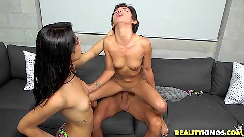 Cock slamming small boobs latina in 2 on 1 action Ariana Cruz and Gina Valentina