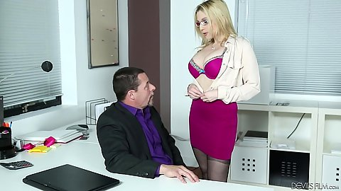 Stripping milf Christie Stevens in the office getting work done