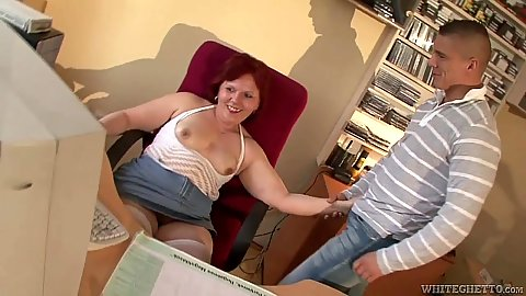 Mature grandma Kati C jerking young males dick