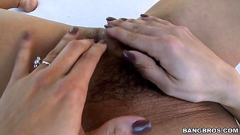 Hairy pussy close up touching and ass spreading with Isabella Taylor