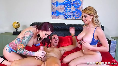 Blowjob and 69 with Skyla Novea and Monique Alexander taking turns on penis