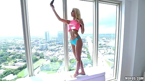 Skinny petite Uma Jolie taking selfies