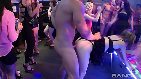 Dirty ladies fucked by hired male stripper at all girls night club