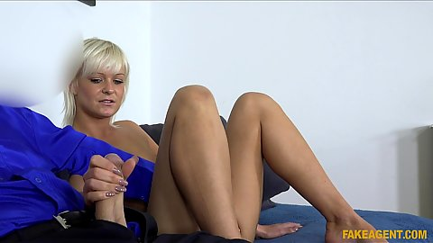 Mature blonde Corinne jerking cock with some oral for casting work