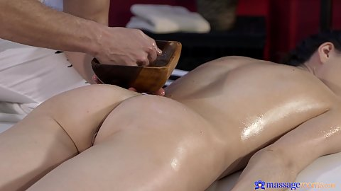 Oil massage for Aruna and her awesome butt
