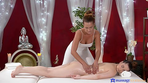 Nana and Nicole touching and oiling in private massage spa