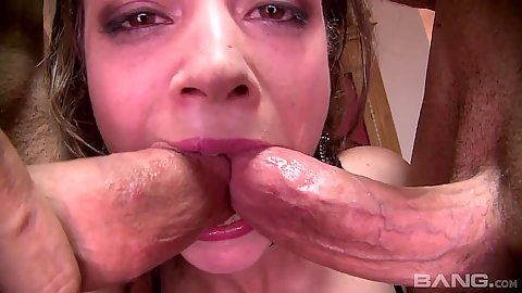 Two cocks in mouth close up sex from rough pounded anal slut Leona Queen