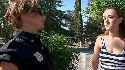 Rebecca Bardot and Victoria Rae Black in cop taking teen back