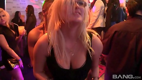 Blonde girl entered from behind while her friends filled with other dicks