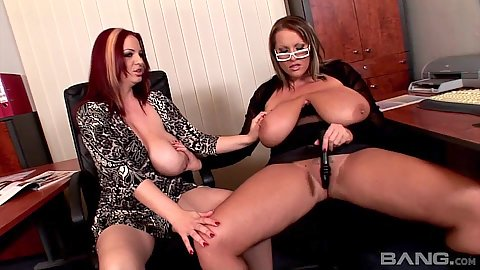 Big natural tits Laura Orsoia and Joanna Bliss getting dirty with exposed tits in office