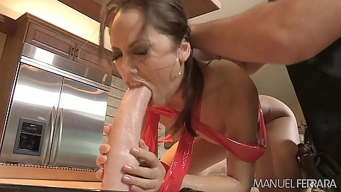 Cop gets a giant dildo into Amy Brooke and Kristina Rose mouth