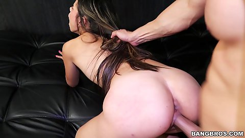 Latina vixen teen Valery Gomez held by the hair when plowed from behind