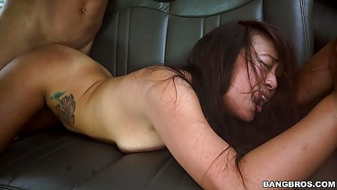 Cum thirsty asian student Sasha Yamagucci plowed on bangbus