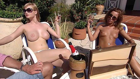 Tarra White and Lauryn May cock suck on pool chairs in orgy