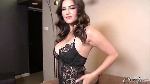 Cheerful glamour slut in lingerie Sunny Leone getting naked