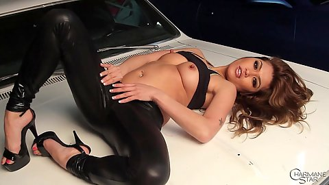 Charmane Star masturbation in tight pants with some fingering