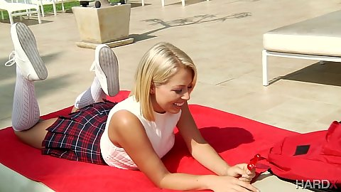 Zoey Monroe enjoying the sun in a cute skirt