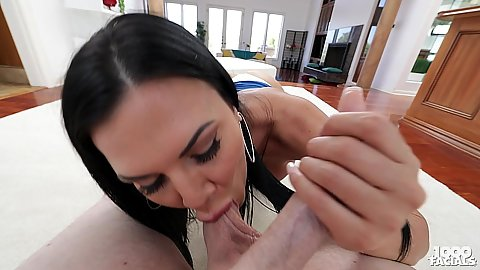 Sucking some balls and blowjob from very large boobs Jasmine Jae in pov