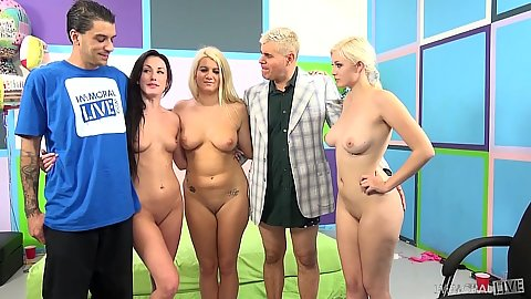 Jenna Ivory and Jennifer White with Laela Pryce pose before orgy