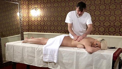 Private massage with immaculate milf Mara laying on table