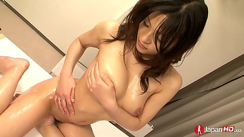Natural medium breasts asian Rio Sasaki oils her own body and feels pleasure