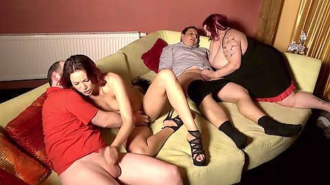 Bbw and her skinny friend Natalie Hot double team dicks