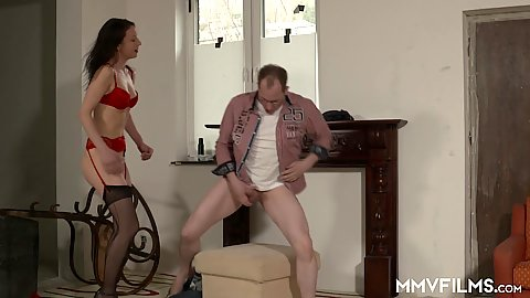 Bras and panties milf Valeria Jones sucks dick and receives full anal probe from the front