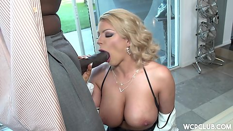 Huge black cock sucking with white babe Brooklyn Chase and big ass pussy fuck